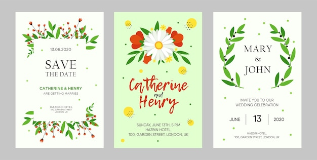 Creative wedding invitation designs with flowers. trendy floral invitations with text. celebration and event concept. template for leaflet, banner or flyer