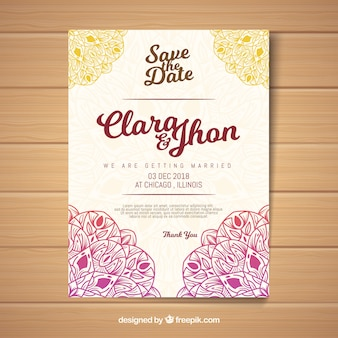 Creative wedding invitation template in mandala style