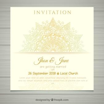 Creative wedding invitation template in mandala style Free Vector