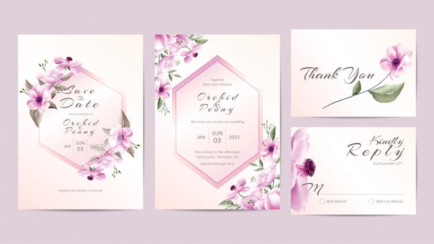 Creative wedding invitation template set with pink flowers