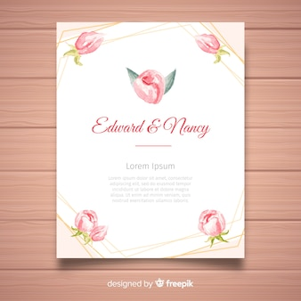 Creative wedding invitation template with peony flowers concept