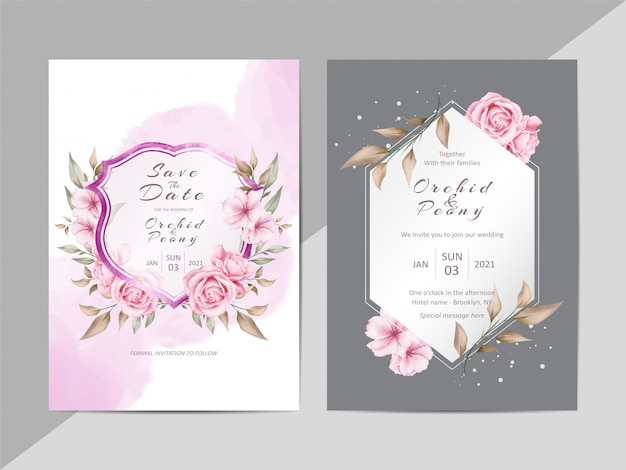 Creative wedding invitation template with watercolor floral and crest