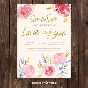 Creative wedding invitation template with watercolor peony flowers