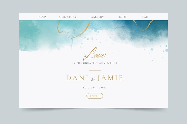 Creative wedding landing page template