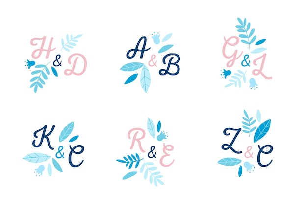 Creative wedding logo collection