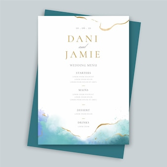 Creative wedding restaurant menu template
