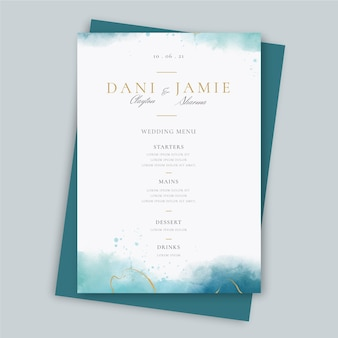 Creative wedding restaurant menu