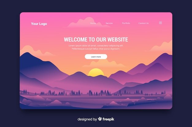 Creative welcome landing page with gradient landscape