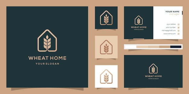 Creative wheat and home, logo and business card.