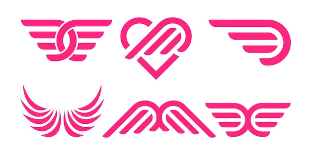 Creative wing logo icon set. wings badges. collection wings badges. vector illustration.