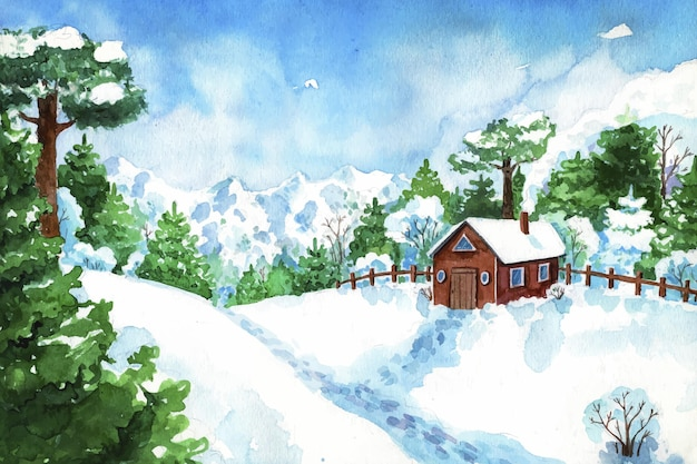 Creative winter landscape in watercolor