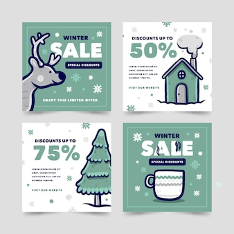 Creative winter sales posts pack