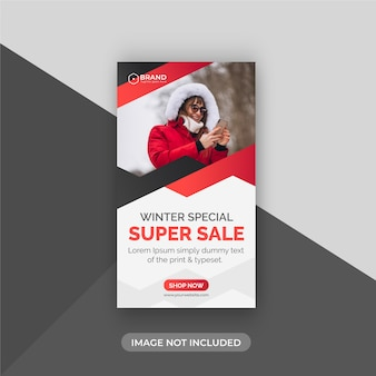 Creative winter special big sale instagram story  design template