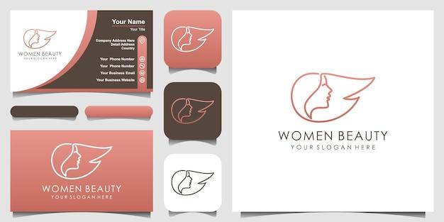 クリエイティブな女性のロゴ頭の顔の髪のロゴを分離美容院のスパ化粧品に使用