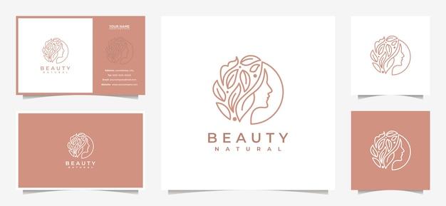 창의적인 여성은 나뭇잎과 명함의 조합으로 로고 디자인에 직면