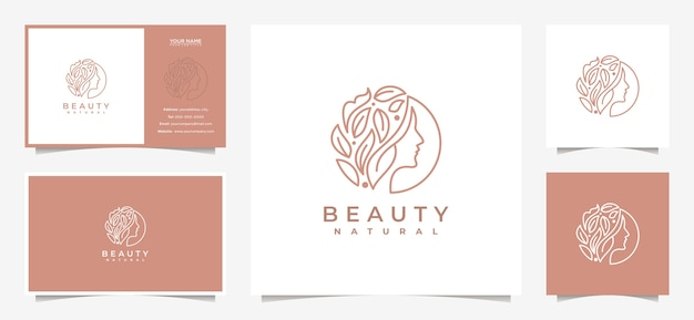Creative women face logo design with a combination of leaves and business cards