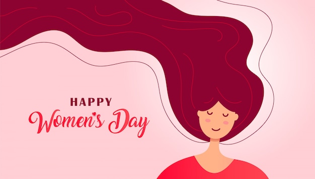 Creative womens day greeting card with cute face of a woman or girl with flying hair and greeting text on a white background.
