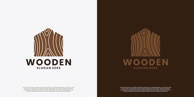 Creative wood house logo design idea