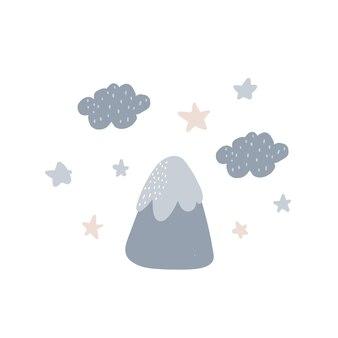 별, 구름, 산이 있는 창의 삼림 포스터
