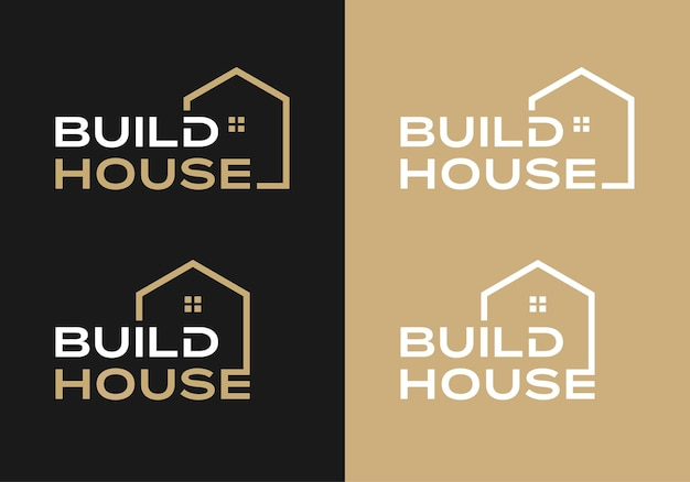 Creative word mark for build house logo design inspiration template