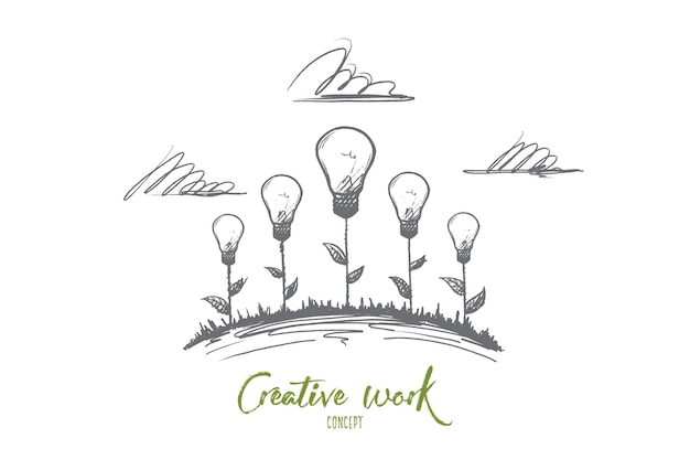 Creative work concept. hand drawn creative illustrations of flowers. the birth of an idea. incandescent lamp the symbol of creative idea isolated illustration.