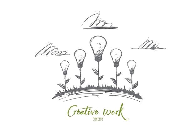 Концепция творческой работы. рисованной творческие иллюстрации цветов. рождение идеи. лампа накаливания - символ творческой идеи, изолированных иллюстрация.