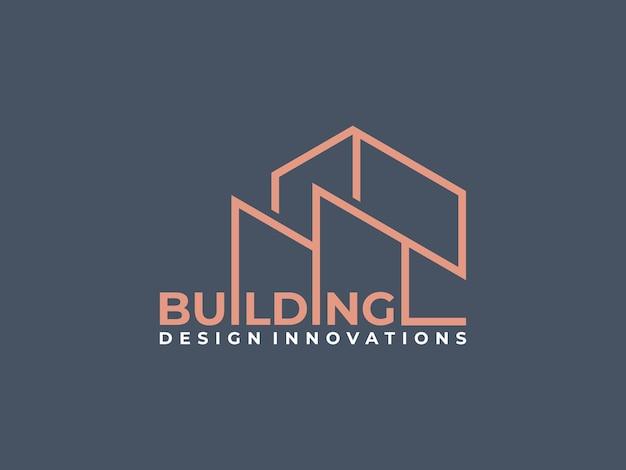 Creative work mark real estate logo design with line art style.