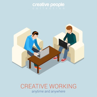 Creative work process anytime anywhere freelance isometric concept   illustration two young men on chairs working on laptops