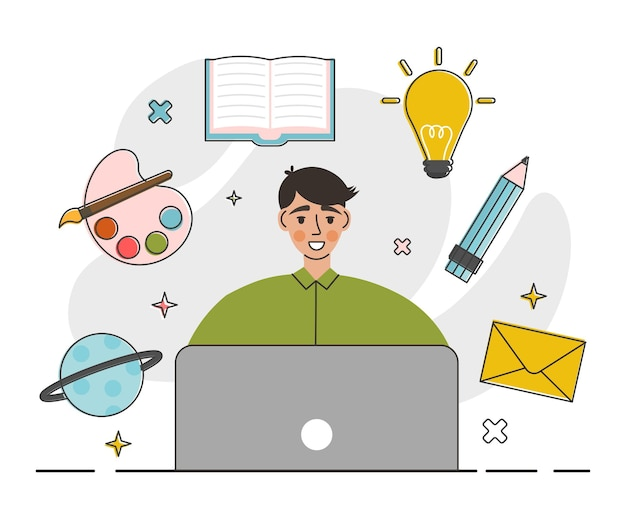 Creative worker using digital devices and programs in project