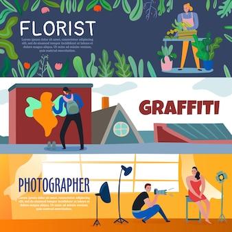 Banner di lavoratori creativi con artista di strada fiorista e fotografo