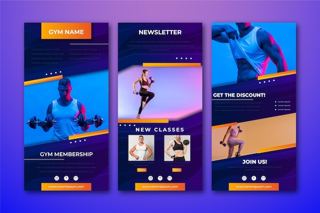 Creative workout email template with photos
