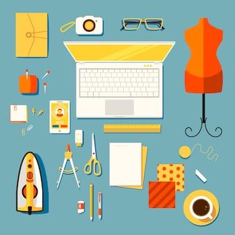 Creative workplace of designer
