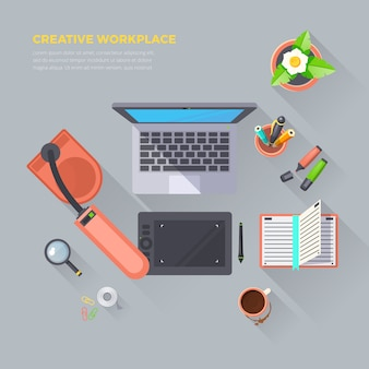 Creative workplace top view illustration