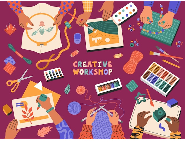 Creative workshop, children applique, draw, make plasticine, knitting, embroidery, template banner educational courses for children. hand drawn illustration in modern cartoon flat style.