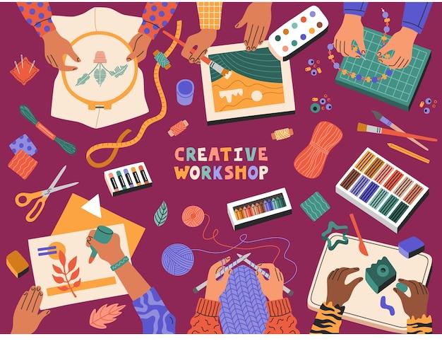 クリエイティブワークショップ、子供たちのアップリケ、描画、粘土の作成、編み物、刺繡、子供向けのテンプレートバナー教育コース。現代漫画フラットスタイルの手描きイラスト。