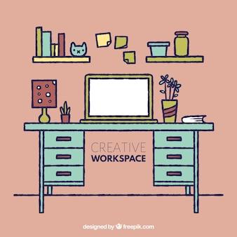 Творческая рабочая область с забавным стилем