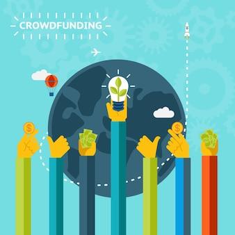 Графический дизайн концепции краудфандинга творческого мира на узорчатом небесно-голубом фоне.