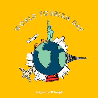 Creative world tourism day background