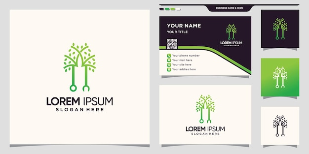 Creative wrench and tree logo with unique linear style and business card design premium vector
