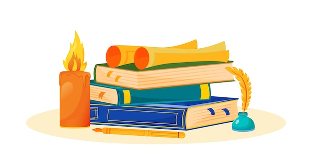 Creative writing    illustration. novel reading. literature school subject. storytelling study metaphor. university class. books stack and inkwell  cartoon objects