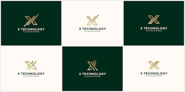 Creative x monoline logo, connected gold color x luxury letter x icon logo