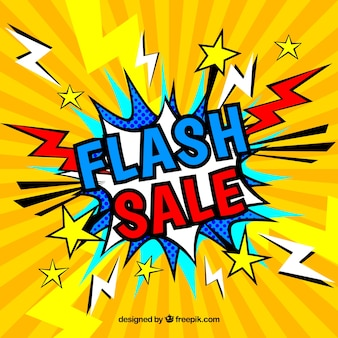 Creative yellow flash sale background in comic style