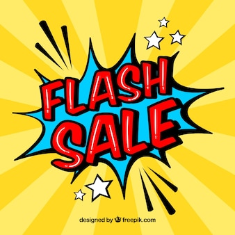 Creative yellow flash sale design in comic style