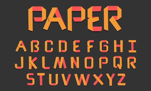 Creative yellow paper fold alphabets