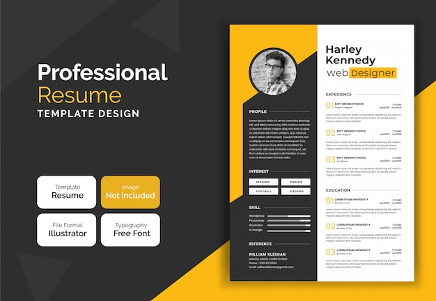 Creative yellow resume curriculum template