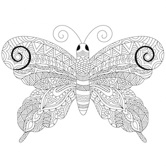 Creative zentangle style butterfly with ethnic floral ornaments, black and white freehand sketch in doodle style. hand drawn vector illustration.