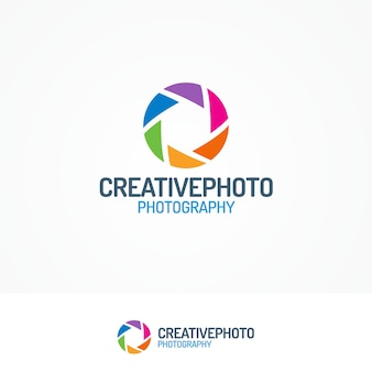 Creativephoto logo set with aperture modern flat color style
