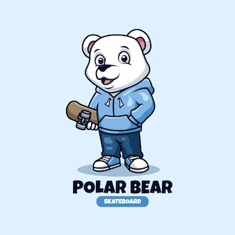 북극곰 스케이트 보드를위한 크리에이티브 마스코트 로고 디자인 프리미엄 벡터