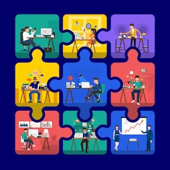 Creatives spaces for presentation in puzzle Premium Vector