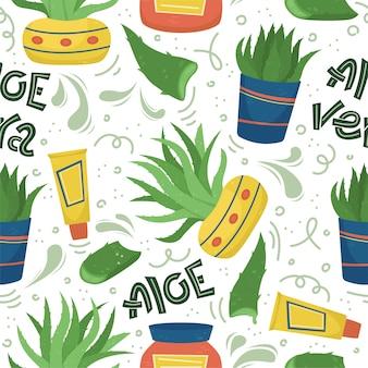 알로에 베라와 크리 에이 티브 원활한 패턴입니다. 가정 약용 식물.